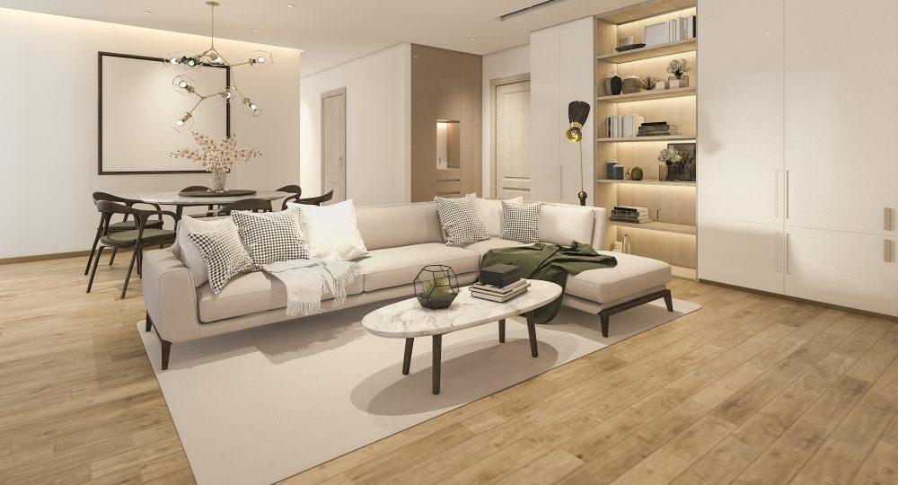 podłoga w salonie z drewnopodobnych płytek