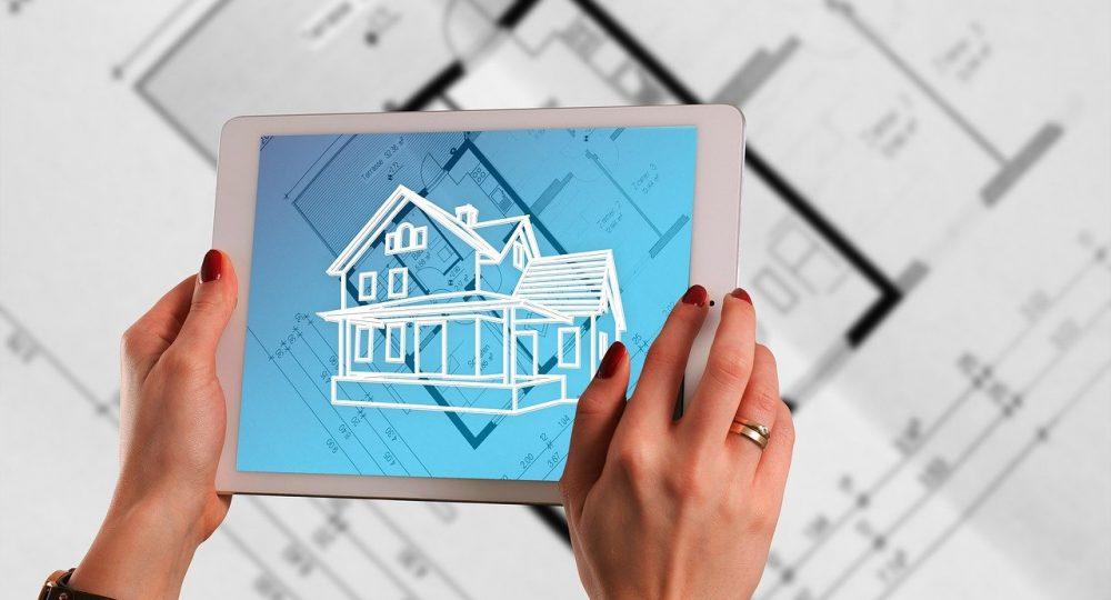projekt domu, wizualizacja na tablecie