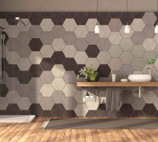 nowoczesna łazienka z płytkami hexagonalnymi